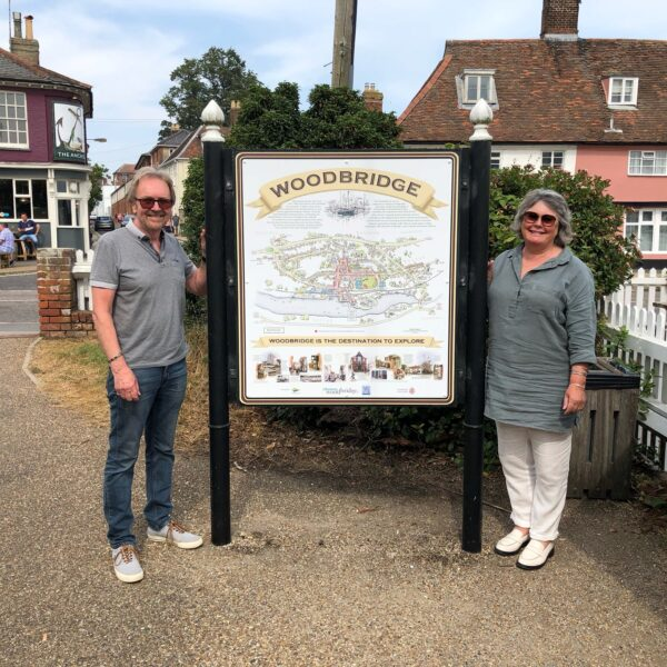 John Risby and Clare Perkins with a new Woodbridge town map